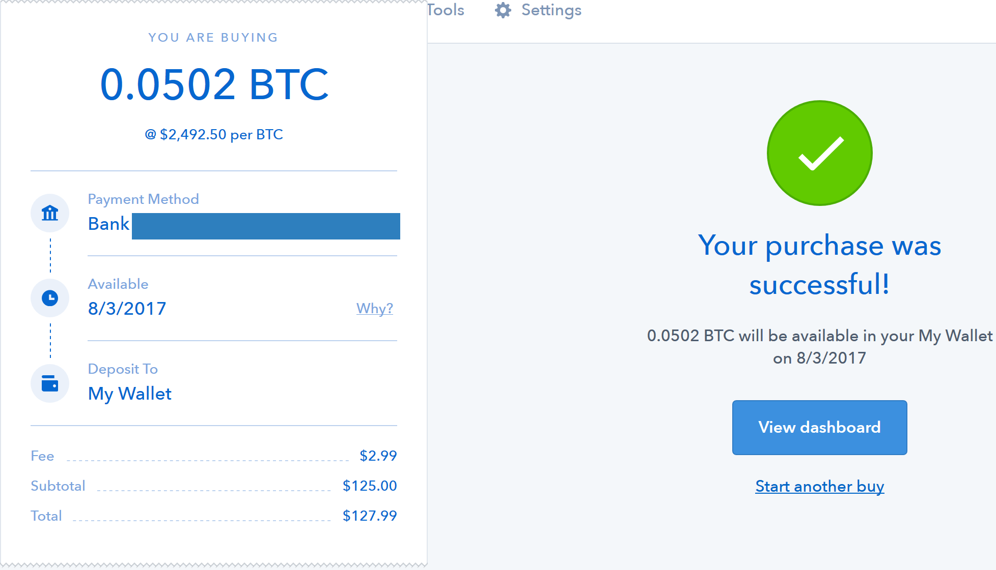 coinbase completed purchase