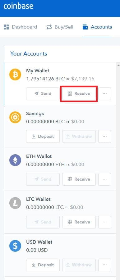 how to receive cryptocurrency on coinbase