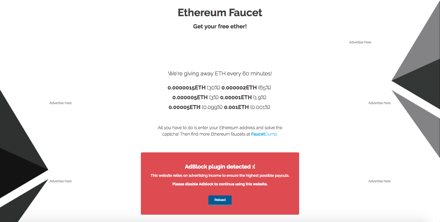 Ethereum Faucet with Adblocker
