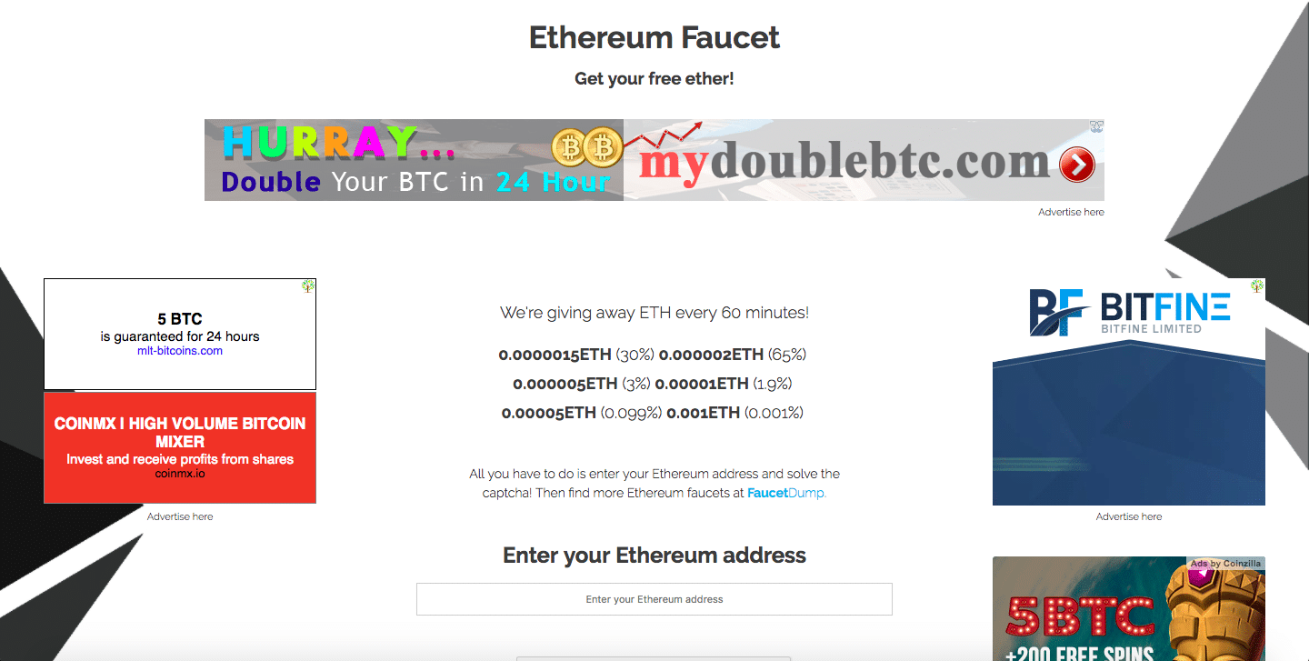Ethereum Faucet with no Adblock