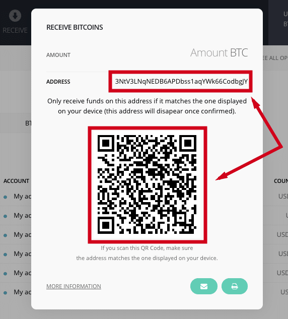 receive bitcoin ledger addresses