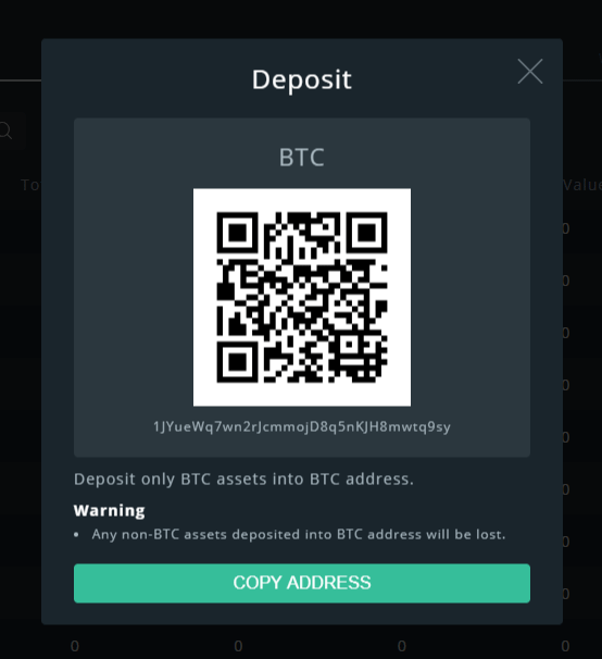 Cobinhood Bitcoin address