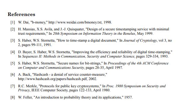 Satoshi's White Paper References