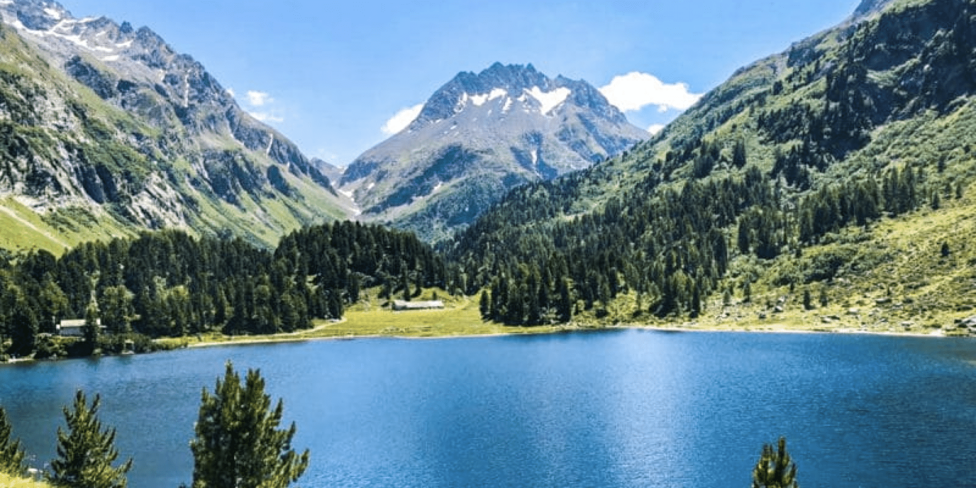 Alpine lake view in Switzerland