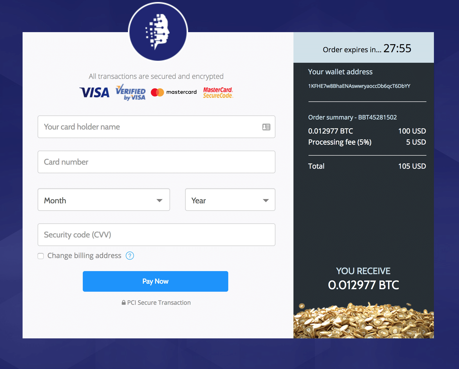 Buy bitcoin with credit cards: Coinmama payment screen
