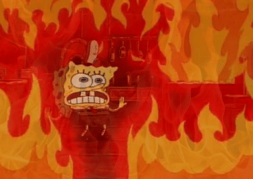 spongebob fire proof of burn