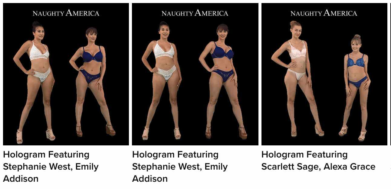 An example of the Naughty America holograms.
