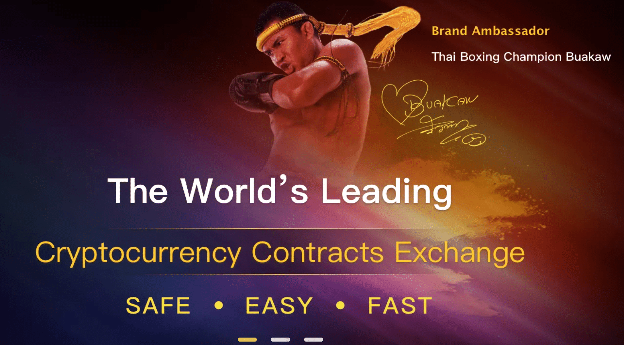 Cryptocurrency option exchange Bityard's home page, feature Buakaw